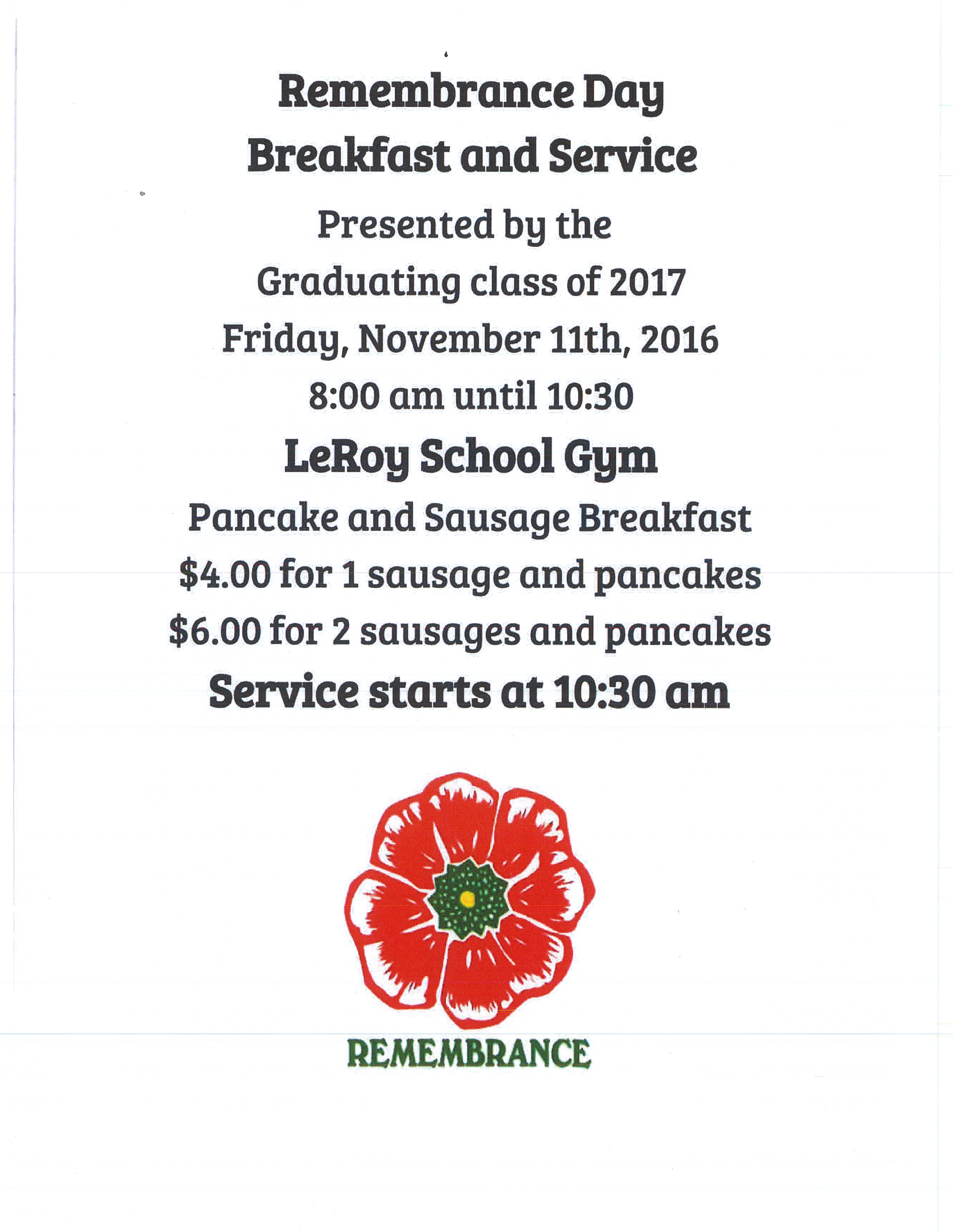 Remem Nce Day Breakfast And Service