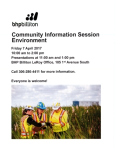 BHP Billiton Community Information Session - Environment @ BHP Billiton LeRoy Office