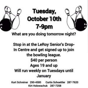 Bowling @ LeRoy Drop-In Centre