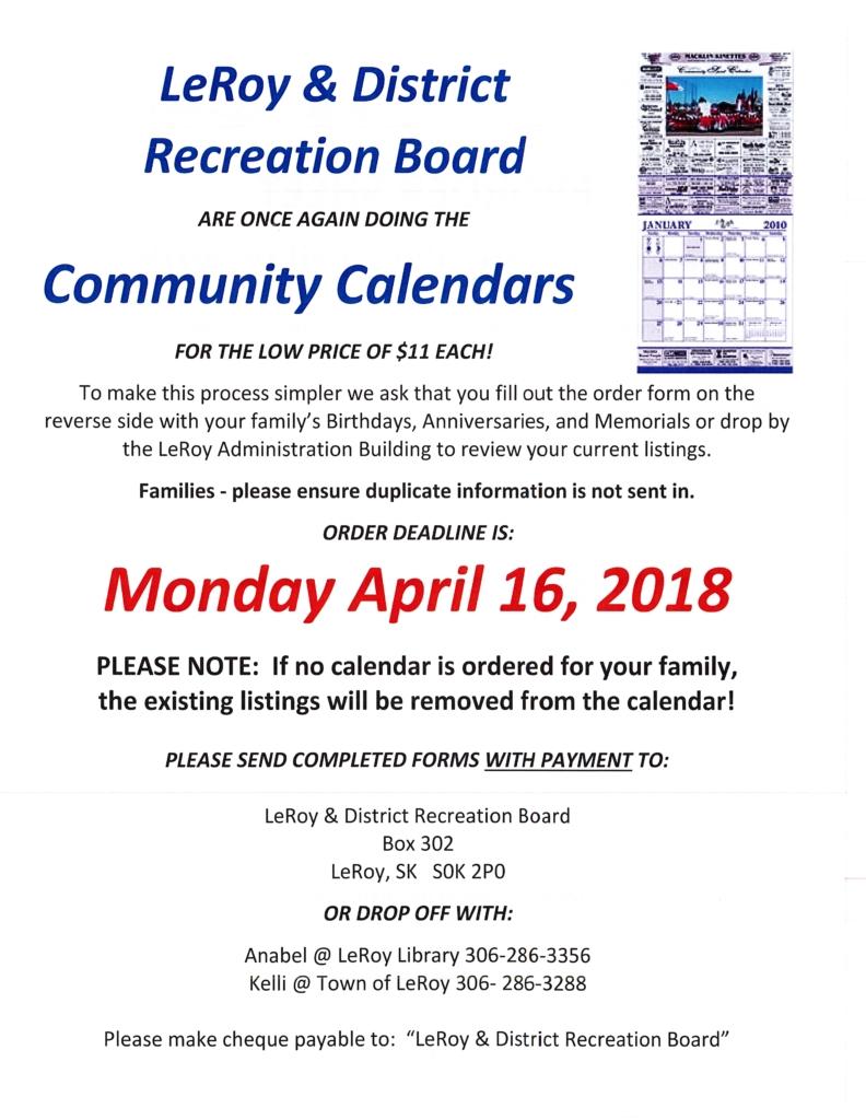 Community Calendar Order Deadline