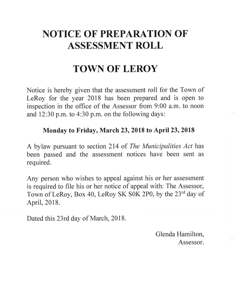ASSESSMENT ROLL IS OPEN