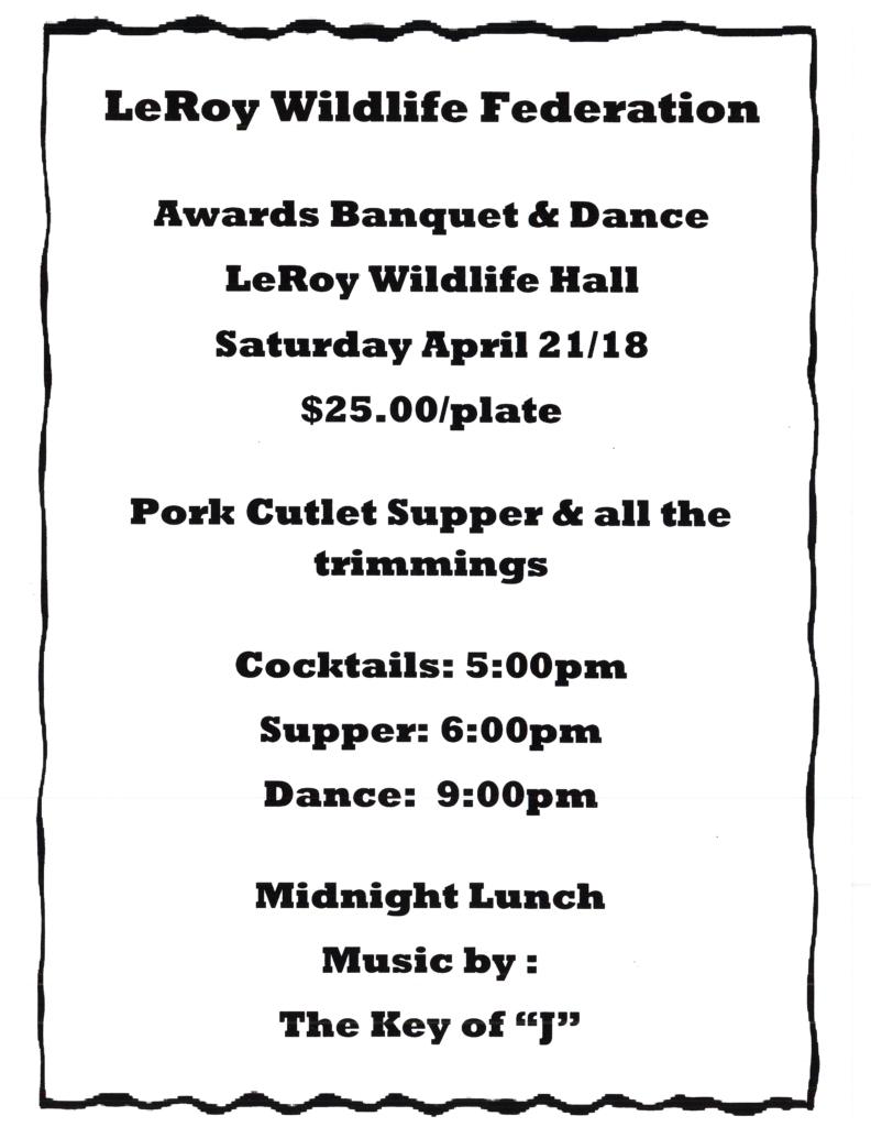 LeRoy Wildlife Federation Awards Banquet & Dance @ LeRoy Wildlife Hall