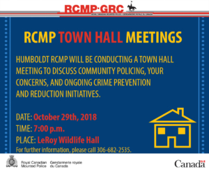 RCMP Town Hall Meeting @ LeRoy Wildlife Hall