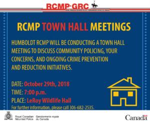 RCMP Town Hall Meeting @ LeRoy Wildlife Hall