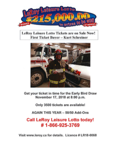 15th Annual LeRoy Leisure Lotto Early Bird Draw