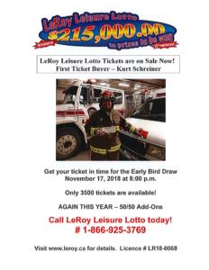 15th Annual LeRoy Leisure Lotto Early Bird Deadline